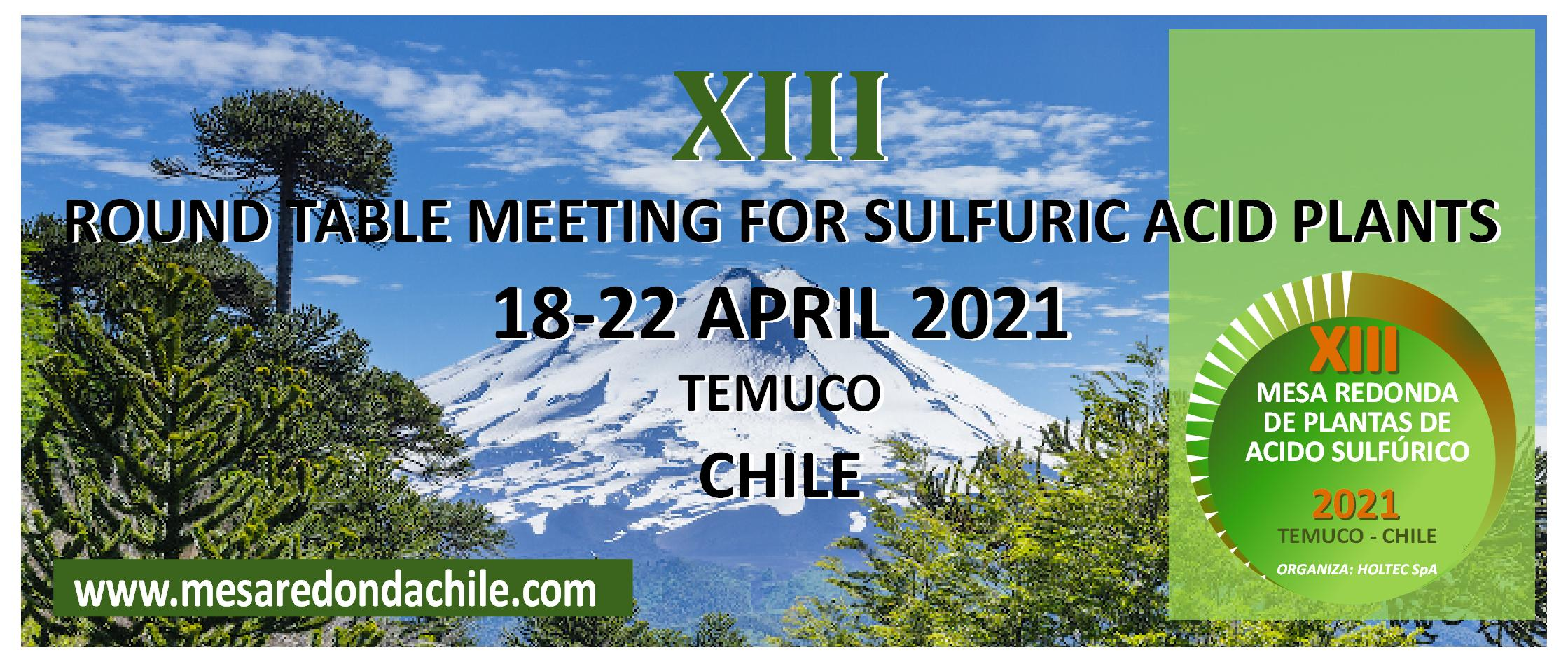XIII Round Table of Sulfuric Acid Plants • 21 - 25/10/2018 • Puerto Varas, Chile